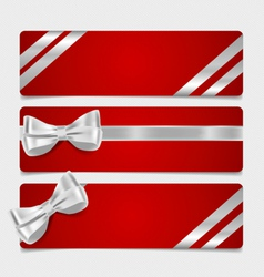 Cards with gift bows and ribbons vector image vector image