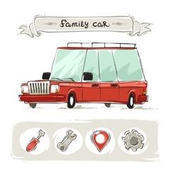 Cartoon family old car set vector