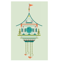 Cuckoo clock flat style doodle vector image