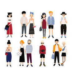 set of stylish young people and love couples vector image