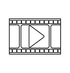 silhouette filmstrip with play buttom vector image