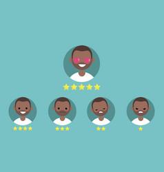 star rating system set of emotional portraits vector image vector image