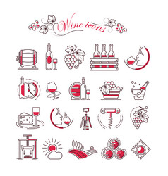 wine accessory winemaking icons glass vector image vector image