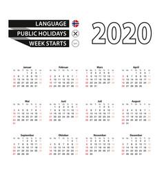 2020 calendar in norwegian language week starts vector