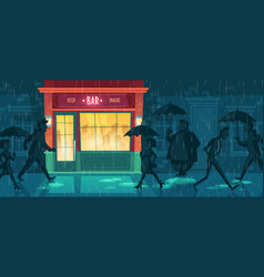 Background with bar night cafe in rain vector