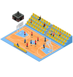 Basketball field and tribune 3d isometric view vector