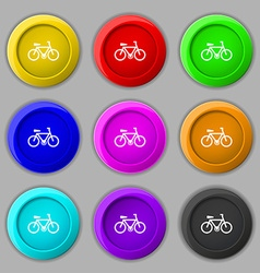Bicycle icon sign symbol on nine round colourful vector