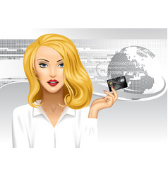 blonde girl holding a credit card on digital vector image
