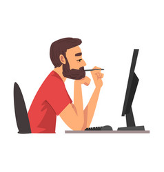 Bored man working with computer lazy guy vector