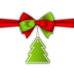 Bow Ribbon with Christmas Tree Label vector