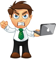 Business Man Angry With Laptop vector image