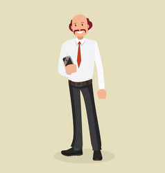 businessman in a white shirt holding a smartphone vector image