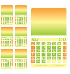 Calendar grid second semester vector