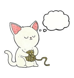 Cartoon cat playing with ball of yarn with thought vector