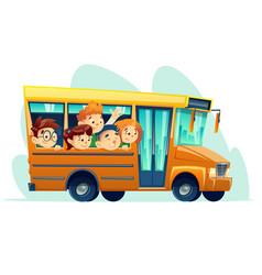 Cartoon school bus full happy kids vector