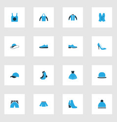 Clothes colorful icons set collection of female vector