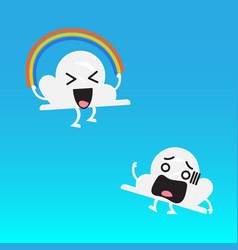 cloud character and friend jumping rainbow rope vector image