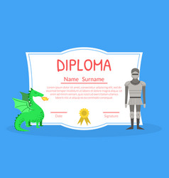 colorful diploma template for kids with place for vector image