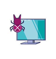 computer with bug virus infection icon vector image