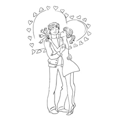 Couple in love Valentines Day Hearts vector image
