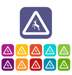 deer traffic warning sign icons set vector image vector image