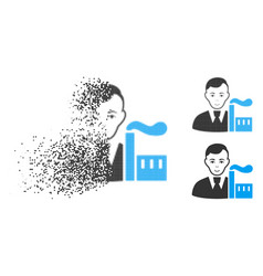Destructed pixel halftone capitalist oligarch icon vector