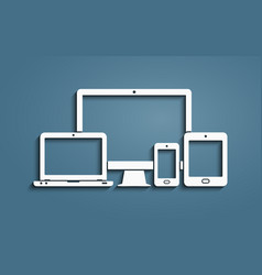 Device icons - smart phone tablet laptop and vector