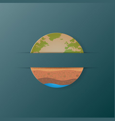 Earth icon and soil profile paper art style vector