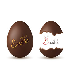 Easter egg 3d chocolate brown whole broken eggs vector