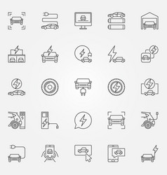 electric car icons set electric vehicle vector image