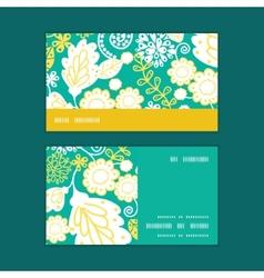 Emerald flowerals horizontal stripe frame vector