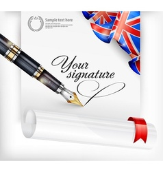 English blank and pen vector image