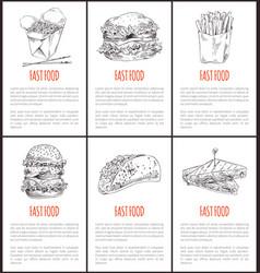 fast food noodles poster set vector image