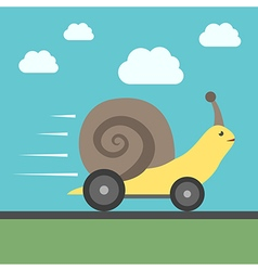 Fast snail with wheels vector