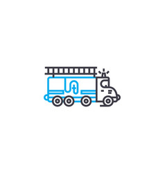 fire engine thin line stroke icon fire vector image