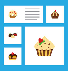 flat cake set of confectionery cake cupcake and vector image