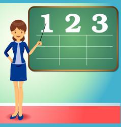 flat design teacher with black board vector image