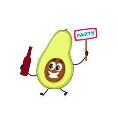 flat funny pear fruit character beer party vector image