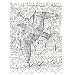 flying seagull with high details vector image