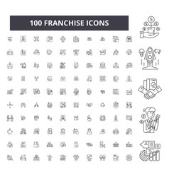 franchise editable line icons 100 set vector image