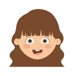 Front head girl isolated icon design vector image