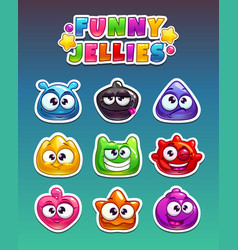 Funny cartoon stickers vector
