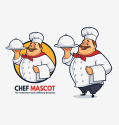 funny chef mascot design for cullinary business vector image