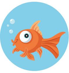 funny goldfish vector cartoon vector image