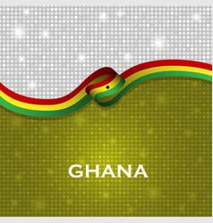 Ghana flag ribbon shiny particle style vector