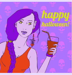 Girl holding a glass of smoothie with a straw vector