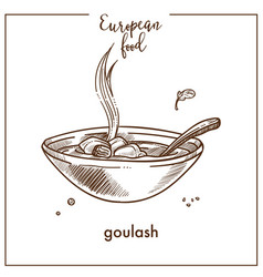 Goulash soup sketch icon for european hungarian vector