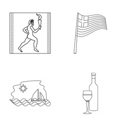 Greece running wine flag greece set collection vector