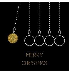Hanging christmas balls Dash line White line and vector
