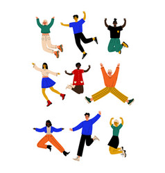 Happy people of different nationalities jumping vector